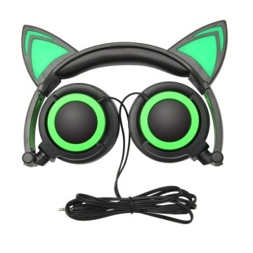 2019 Wired earphones headphones black cat wire headband