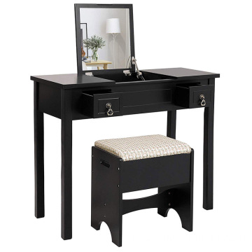 Vanity Set with Flip Top Mirror Makeup Dressing Table Writing Desk with 2 Drawers Cushioned Stool 3 Removable Organizers Easy As