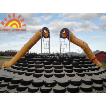 Double Custom Playground Tube Slide Equipment