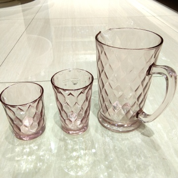 pink color pressed glass carafe hiball glass tumbler