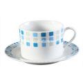 20 Piece Decal Porcelain Dinner Set Blue Tile