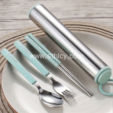 Wheat Straw 304 Stainless Steel Tableware Set