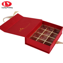 Red luxury cardboard chocolate box with blister divider