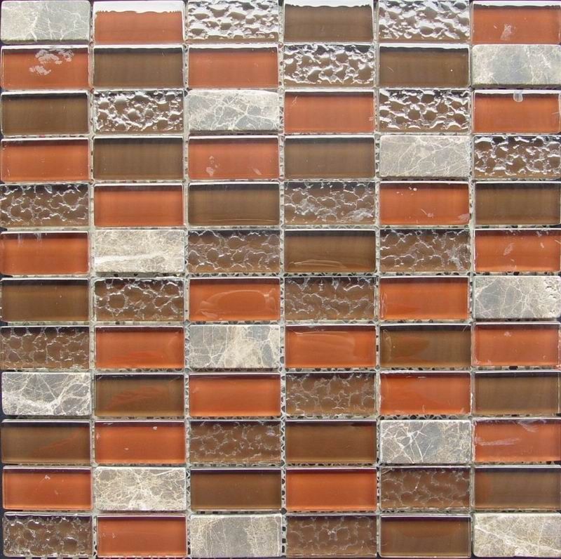 Glossy And Bumpy Glass Mixed Mosaic