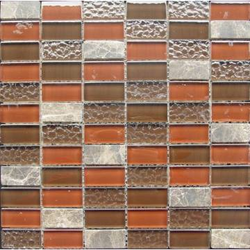 Orange Glossy And Bumpy Glass Stone Mixed Mosaic