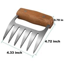 Stainless Steel Meat Forks Claws with Wooden Handle