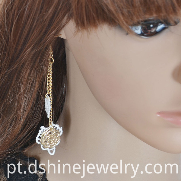 Hand-Made Lace Long Chain Earring