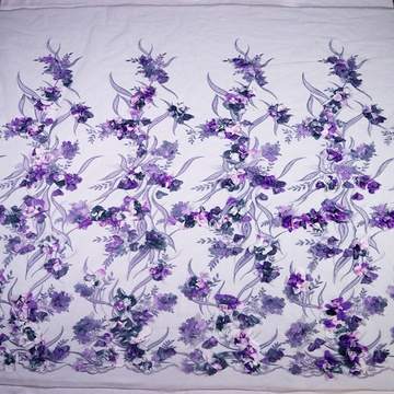 Purple Flower 3D Embroidery Lace Mesh Fabric