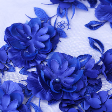 Deep Blue Color 3D Flower Lace Embroidery Fabric