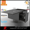 Square Lucite Black Glass Coffee Table