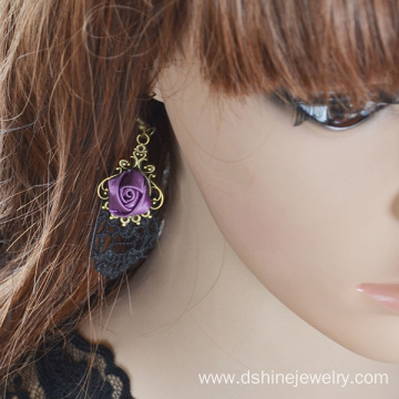 Wholesale Gothic Rose Drop Earrings Lace Earrings Women