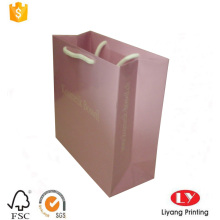 Glossy pink printed paper gift packaging bag