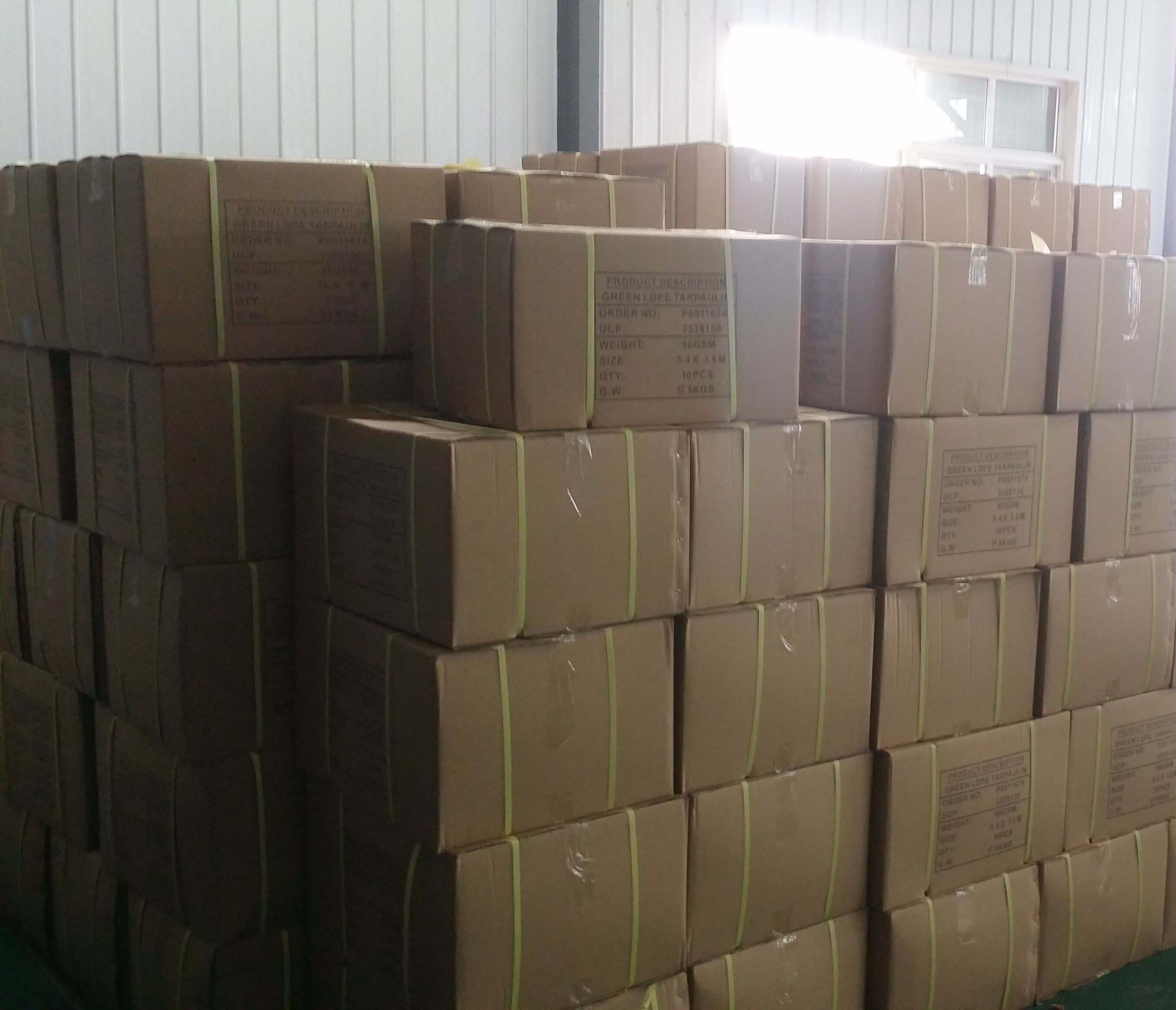 Orange Tarpaulin Carton Packing