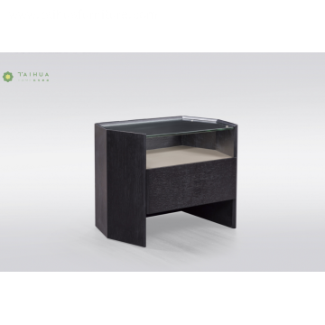 Black Solid Wood Night Stand With Glass Top