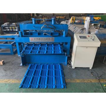 Steel glazed roof tile making roll forming machine