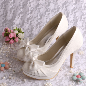 Platform White Lace Bridal Shoes Bowtie