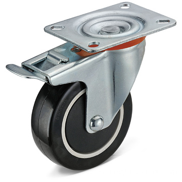 PU Flat Plate Movable Integrated Double Brake Casters