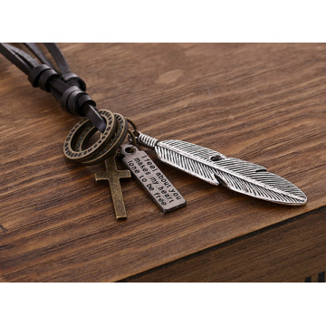Angel Feather Pendant Men Alloy Cross Charm Leather Necklace