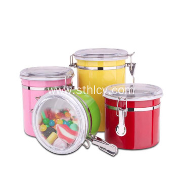 Stainless Steel Condiment Pots with Visible Glass Lid