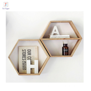 Floating Hexagon Wall decor wooden shelf