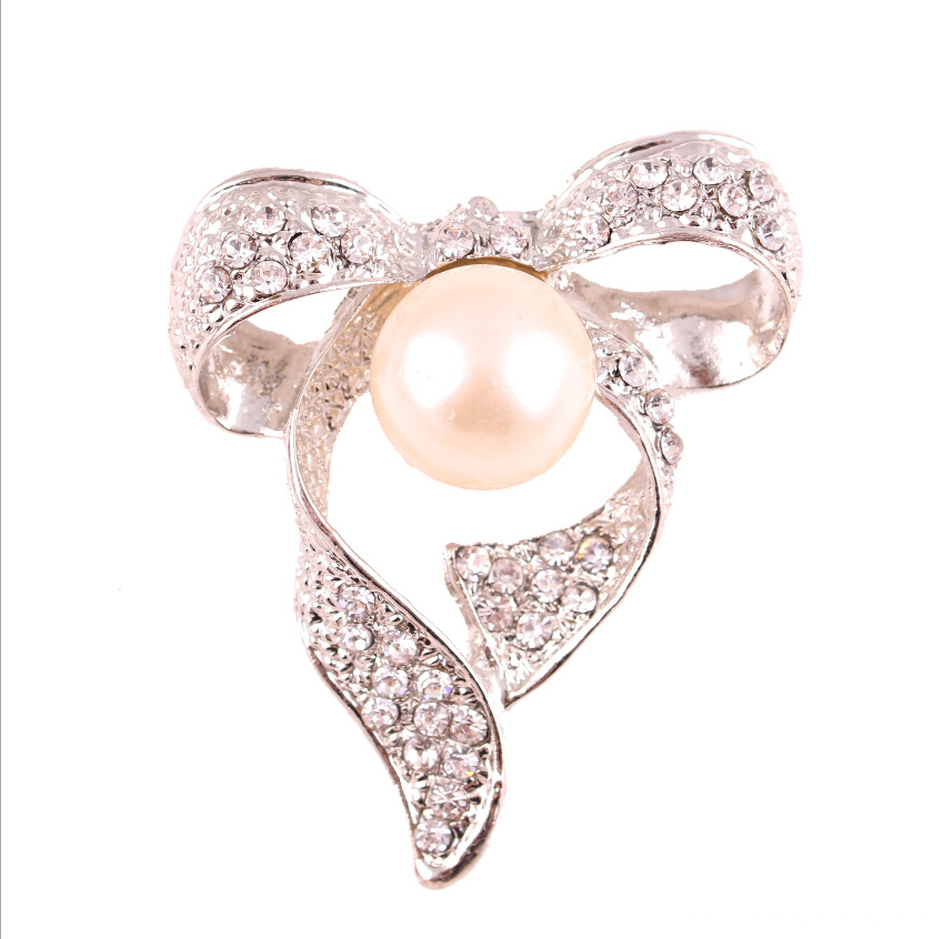 Fashion bow crystal and pearl brooches jewelry