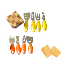 Colourful professional cheese knives set