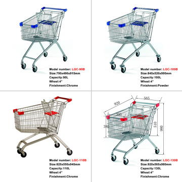 Metal chrome plated shopping cart trolley with wheels