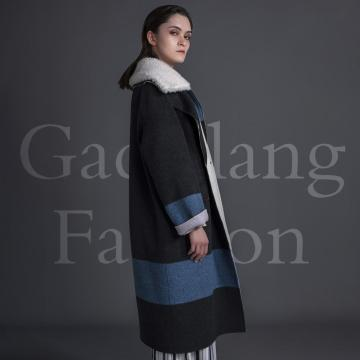 Blue and black patchwork coat