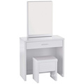 2-piece Vanity Set with Hidden Mirror Storage and Lift-Top Stool White