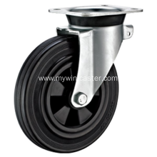 6 Inch Plate Swivel Black Rubber PP Core Dustbin Wheel