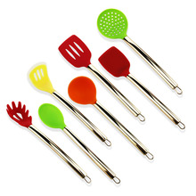 Leading for Silicone Utensils Set Kitchen utensils set with rose gold copper handles supply to Portugal Supplier