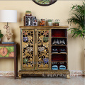 Southeast Luxury trace a design in gold Thailand style wooden shoe cabinet