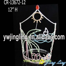 China for Pageant Crowns and Tiaras Summer Silver Palm Tree Crown Pageant Tiara export to Egypt Factory