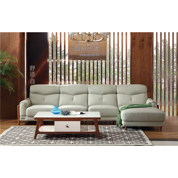 Top for Modern Genuine Leather Sofa All White Leather Furniture supply to Spain Exporter