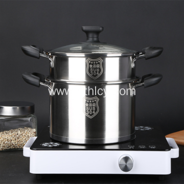 304 Stainless Steel Steamer Double Layers Sup Pot