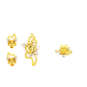 Jewelry Set Flower Themed K Gold