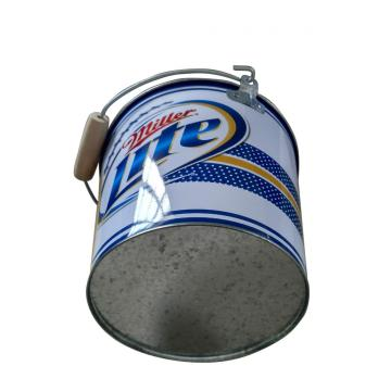 Tin Bucket with wooden handle and bottle opener