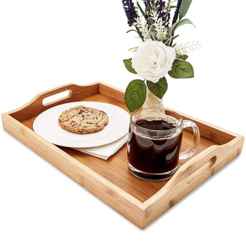 Wood Food Serving Tray with Handles, 16 x 11 x 2 Inches