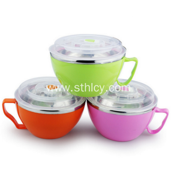 Double-wall Heat Insulated Stainless Steel Bowl With Lid