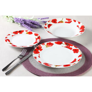 18 Piece Red Floral Porcelain Dinner Set