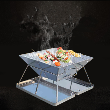 Folding Portable Stainless Steel Charcoal BBQ Grill Set