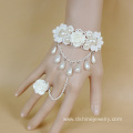 Rose Pearl Tassel Charm Lace Bracelet With Ring Set Bangle