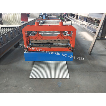 Corrugated crimping curved roof panel roll forming machine