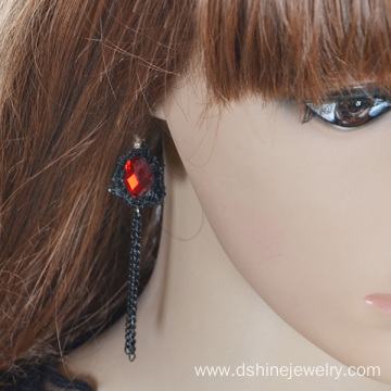 New Design Of Earrings Red Stones Lace Tassel Earring