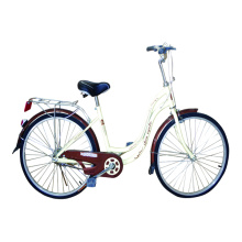 City bicycle with steel frame wire basket