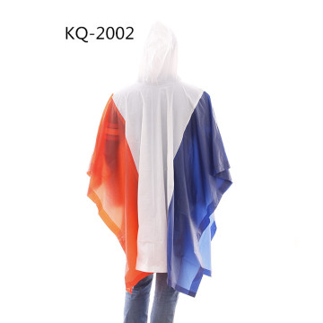 Stitching national flag pvc poncho