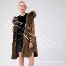 Women Medium Fur Hooded Overcoat In Winter