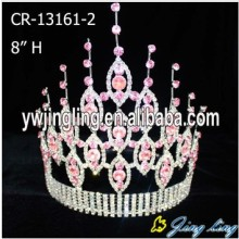 "8"" Pink Rhinestone Pageant Crown For Sale"