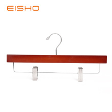 High Definition for Wooden Pants Hanger EISHO Adult Walnut Bottom Hanger With Clips supply to France Exporter
