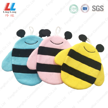 3D bee style children bath gloves sponge